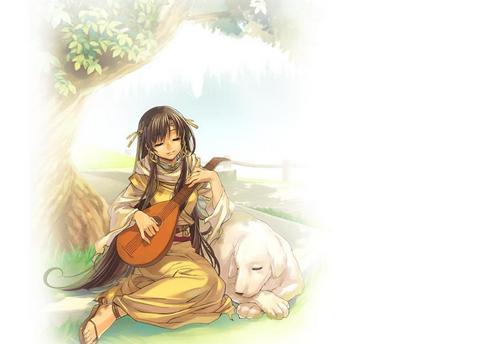 弹琵琶的小女孩