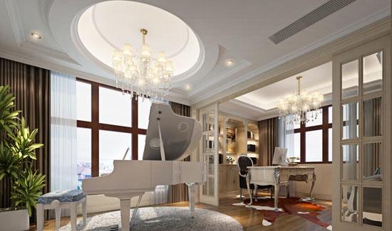 【独立钢琴房】   木地板装修效果图1:这款新古典风格的钢琴房运用