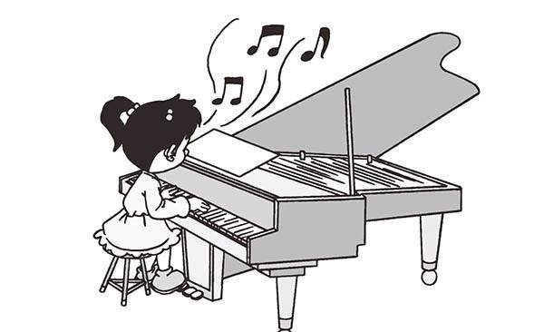 人弹奏钢琴简笔画图