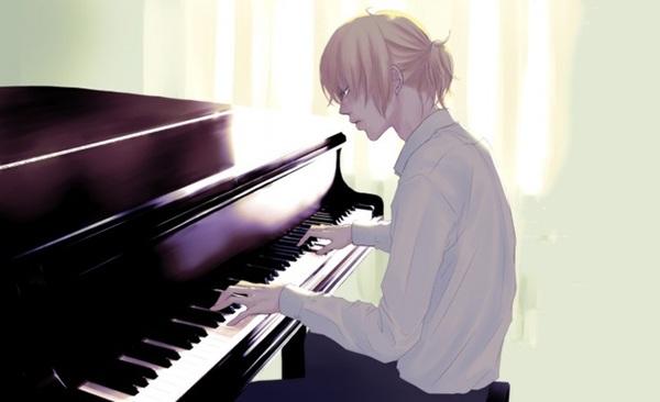 手绘钢琴男女生头像