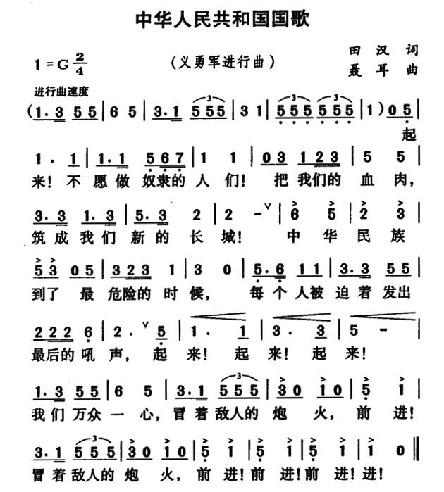 义勇军进行曲 国歌 简谱