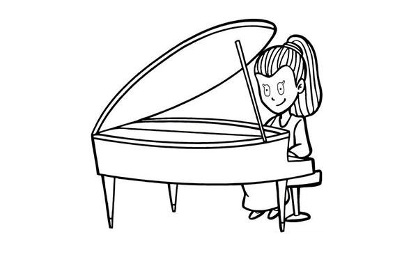 钢琴创意黑白手绘