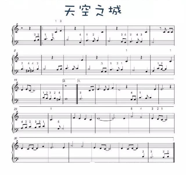 天空之城钢琴曲简谱和视频图片
