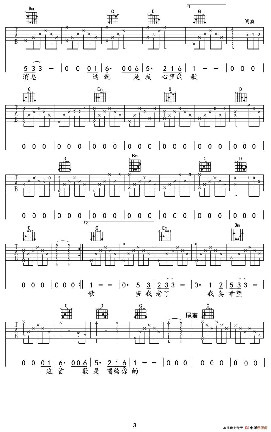 曲谱网 吉他谱 当你老了(莫文蔚演唱,刘淇铭编配版)吉他谱