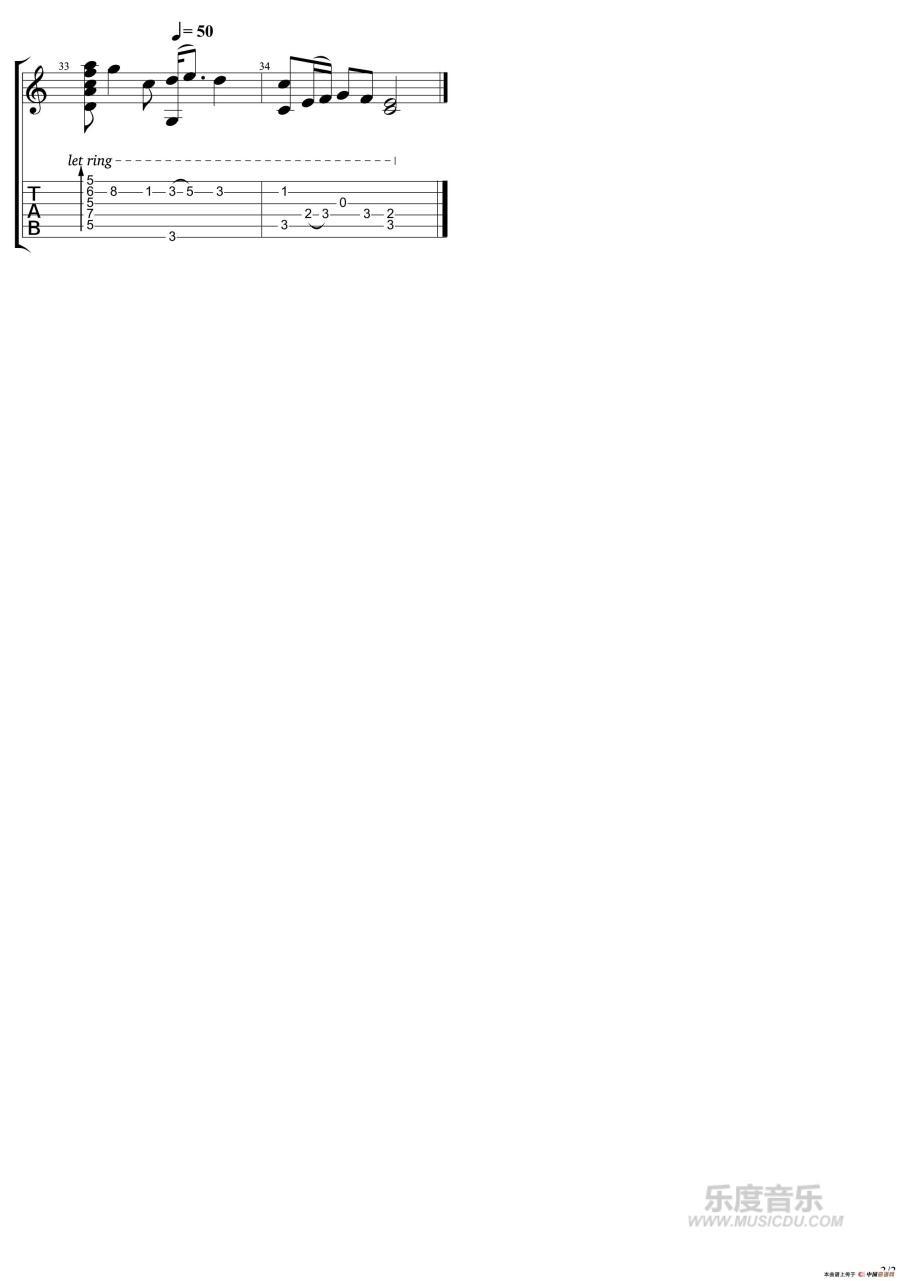 曲谱网 吉他谱 云上太阳(吉他指弹谱)