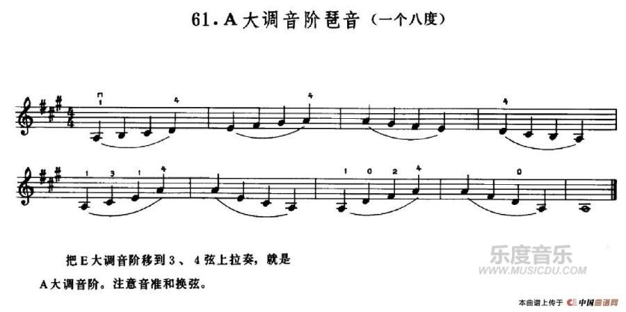 曲谱网 钢琴谱 小提琴练习曲《a大调音阶琶音》