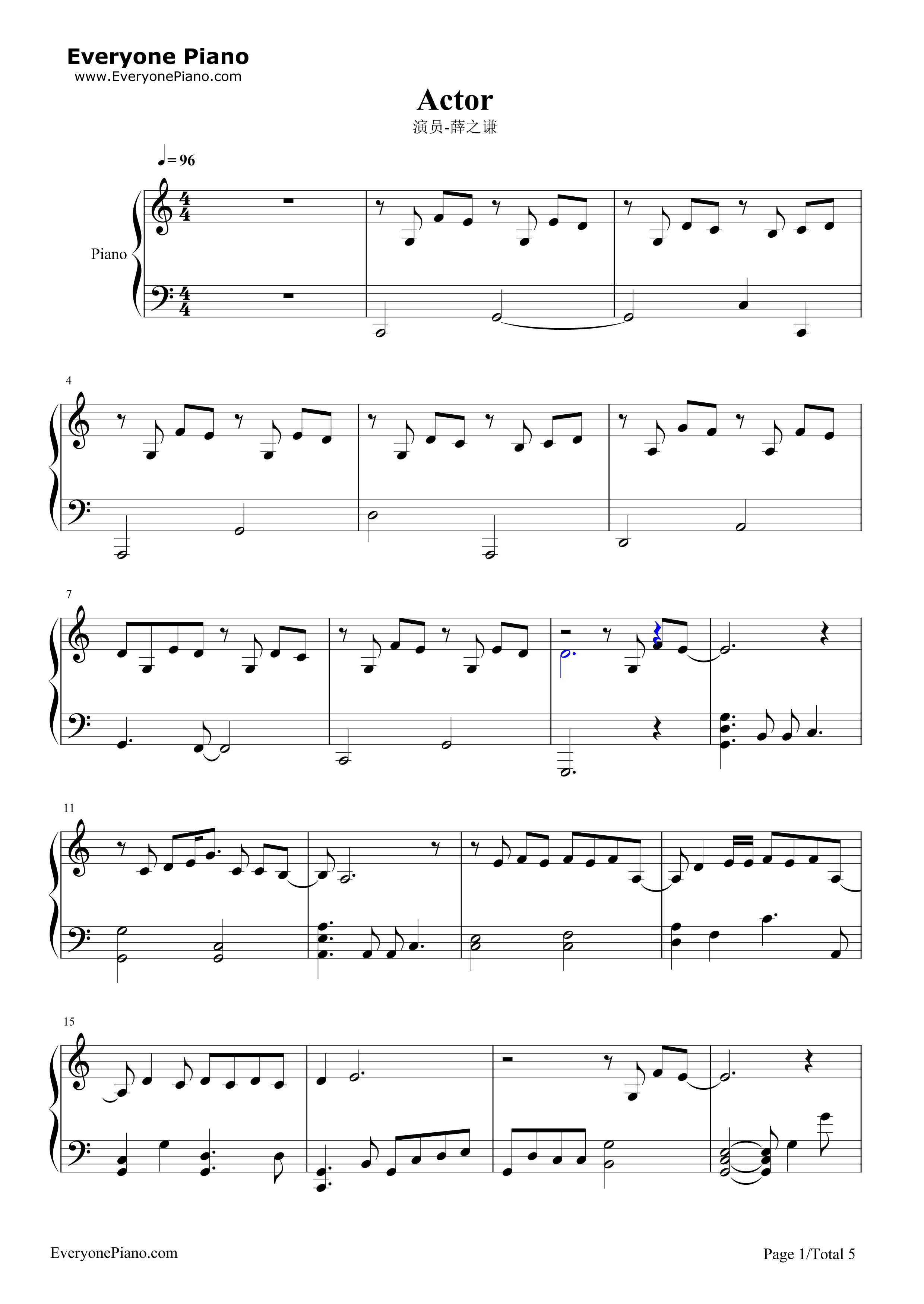 演员钢琴谱,双手简谱