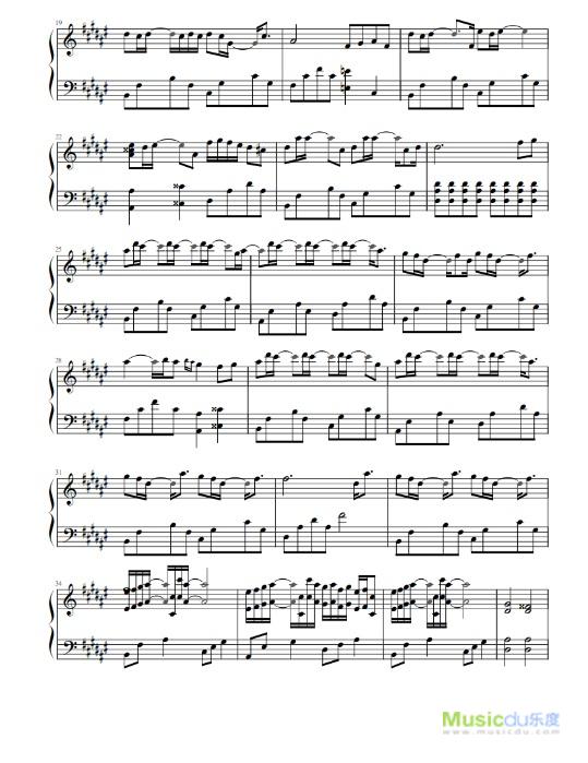 《起风了》钢琴谱(二)图片